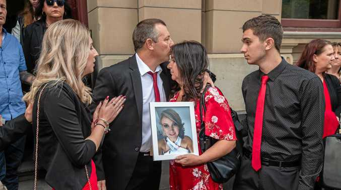 Katie Haley's sister Bianca Unwin, father Boyd Unwin, mother Tania Haley-Unwin and brother Dylan gather outside court after Katie's killer was sentenced to 24 years in jail.