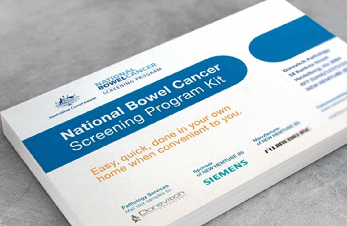 National Bowel Cancer Screening Program kit.