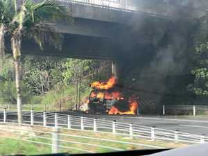 Car on fire on Pacific Highway near Byron Bay