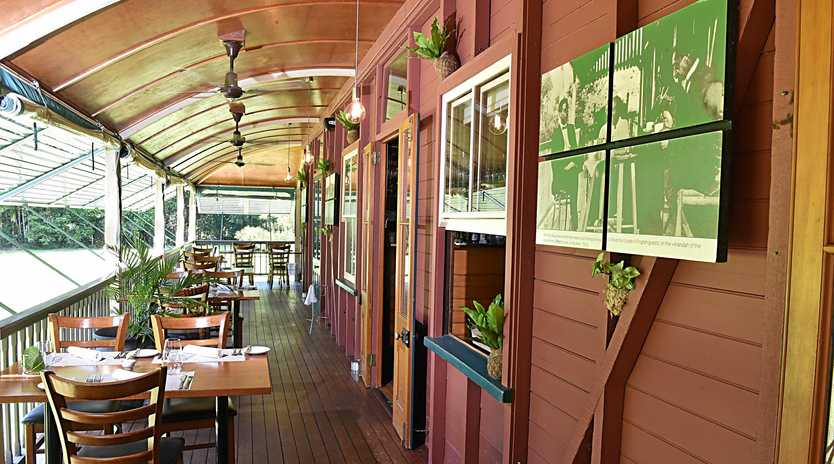 LUSH SURROUNDS: Dine amongst the trees at Harry's on Buderim, Chef Stuart Bell. Lisa Bell enjoys the atmosphere.
