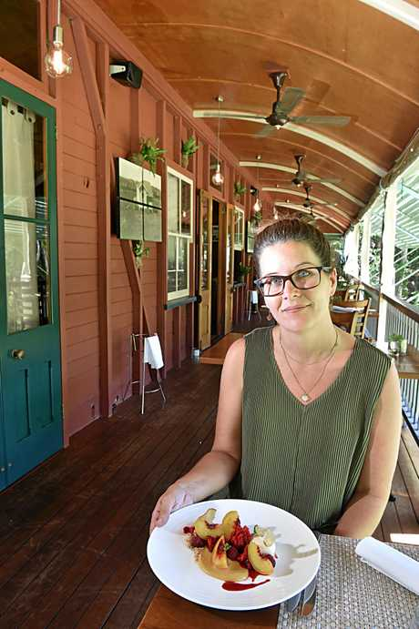 Restaurant Review at Harry's on Buderim.Lisa Bell with a colourful and tasty dessert.