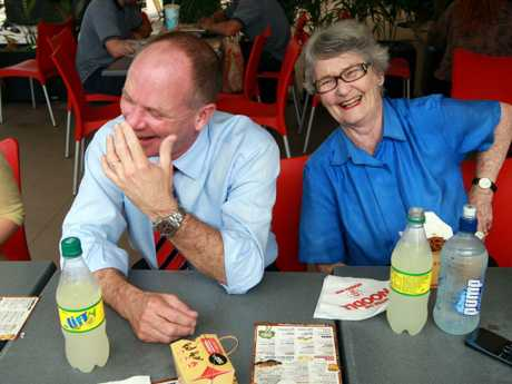 Campbell Newman shares a laugh with his mother, former senator Jocelyn Newman during one of his election campaigns.