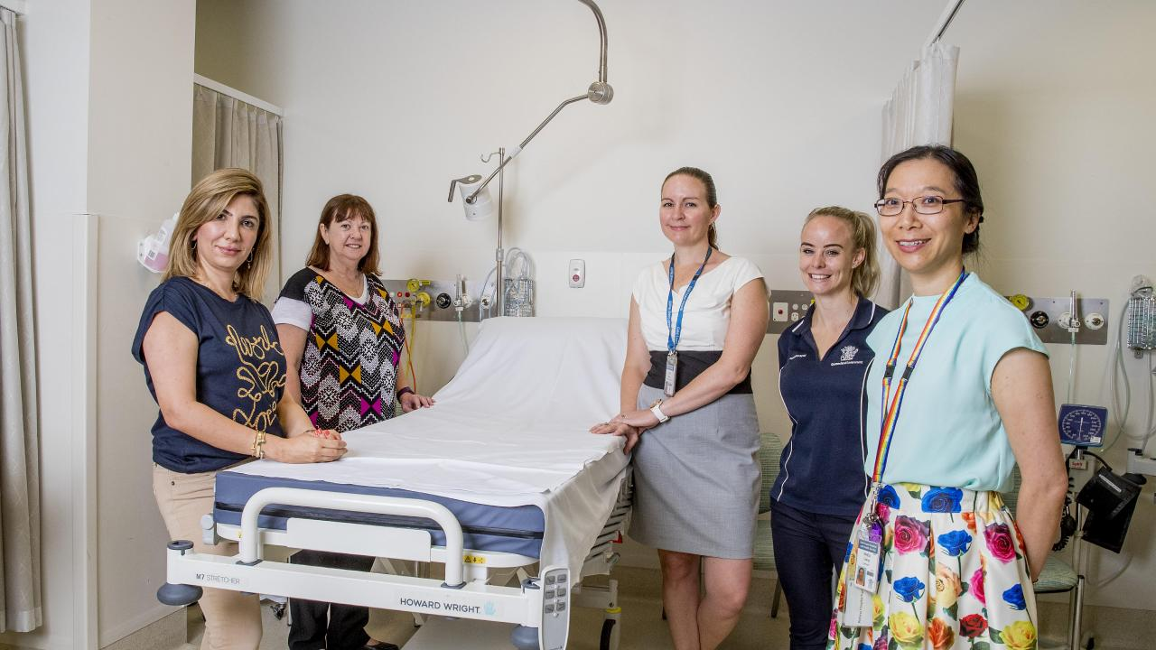 Gold Coast group of medical professionals. (l-r) Rasha Alzuhairy (Consultant Radiologist), Kathy Devantier (Breast Care Nurse), Bree Ryan (Genetic Counsellor), Tania Peterkin (Physiotherapist) and Dr Rhea Liang (Breast Surgeon). Picture: Jerad Williams
