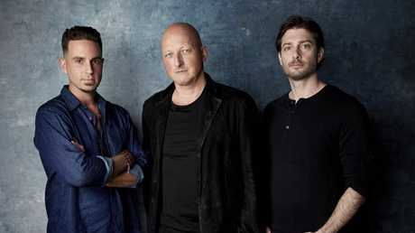 Wade Robson, director Dan Reed and James Safechuck. Picture: Taylor Jewell/Invision/AP