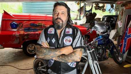 Rebels bikie gang member 'Little Mick' Kosenko whose Koolsville Studios tattoo parlour at Brendale was firebombed last week. Pic: Jono Searle
