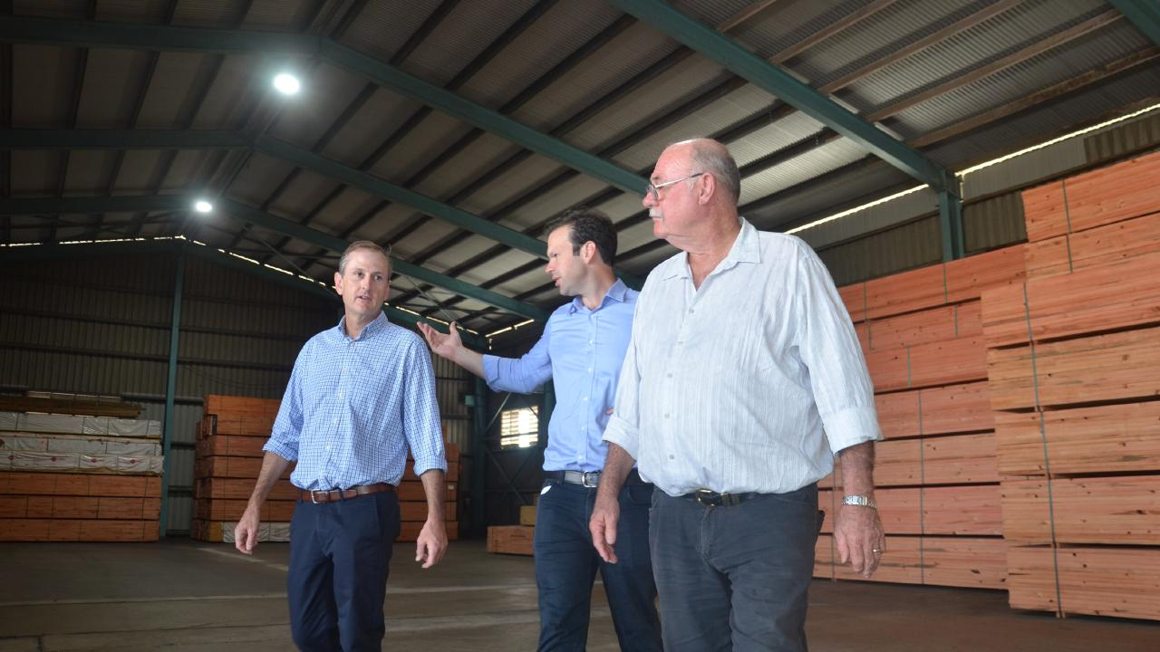 (from left) Timber Queensland CEO Mick Stephens, Minister for Northern Australia Senator Matt Canavan and Leichhardt MP Warren Entsch at the Hyne Timber warehouse in Portsmith to announce a $200,000 fund to identify the growth potential for Northern Australia's forestry industry. PICTURE: CHRIS CALCINO