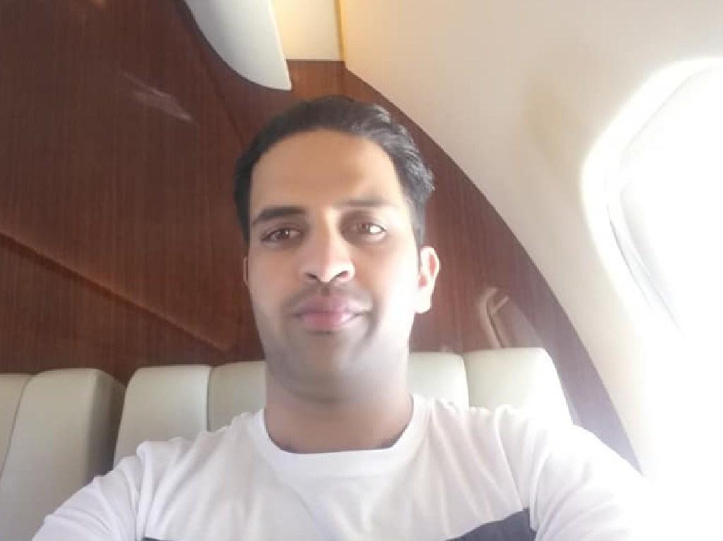 Nisar Haji's selfie aboard the Gulfstream jet (Facebook image)