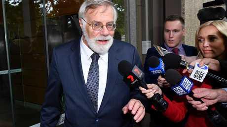 Martin Einfeld QC, representing St George Illawarra NRL player Jack de Belin, leaves the Federal Court in Sydney. Picture: AAP Image/Joel Carrett