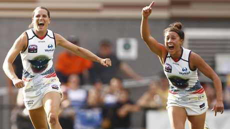 The Adelaide Crows are the new AFLW favourites after destroying the Kangaroos. Picture: AAP Image/Daniel Pockett