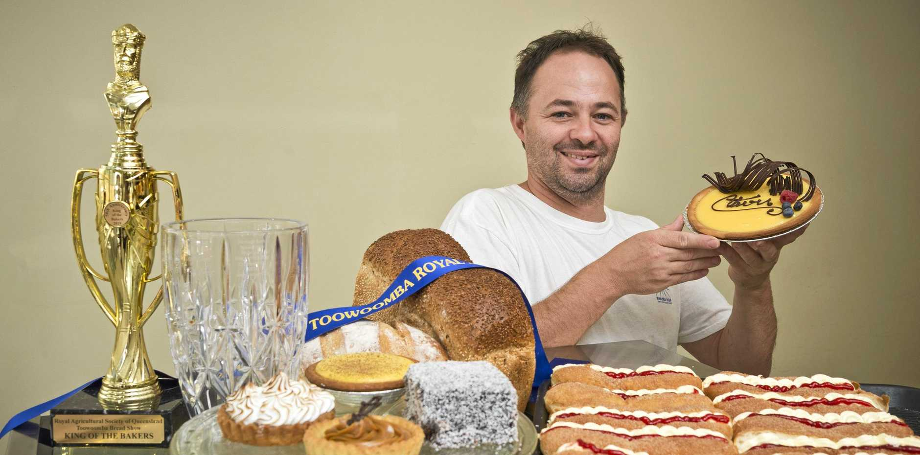 ROYAL EFFORT: Antony's bakery and patisserie owner and baker Antony Blackey is the RASQ Toowoomba Bread Show King of the Bakers .