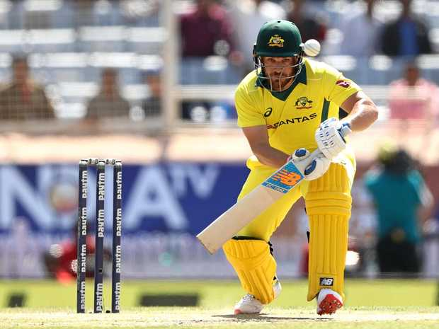 A watchful Aaron Finch defends during his innings of 93 against India. Picture: Robert Cianflone/Getty Images
