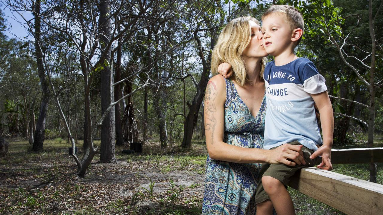 Brittany Cervantes with her son Eli Campbell at home in Agnes Waters. Picture:  Lachie Millard