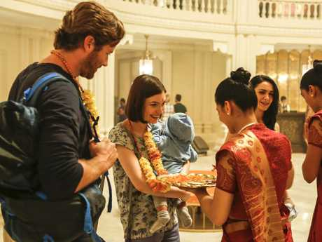 Cobham-Hervey with Armie Hammer in Hotel Mumbai. Picture: Mark Rogers.