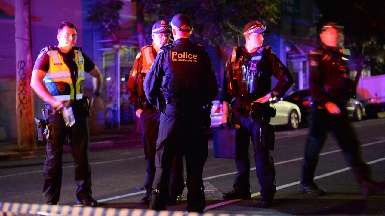 Police at the shooting scene in Melbourne on March 1. Picture: Lawrence Pinder