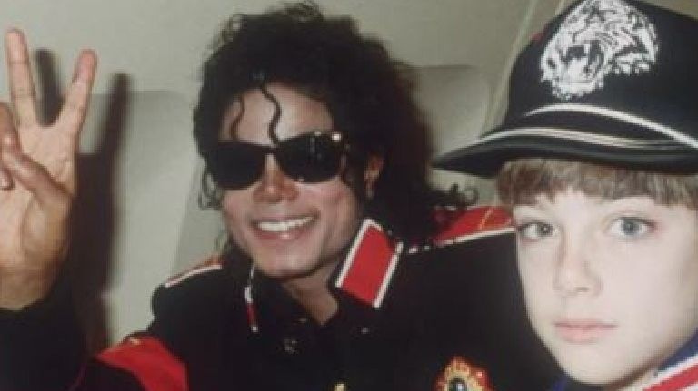 Michael Jackson and James Safechuck. Picture: HBO
