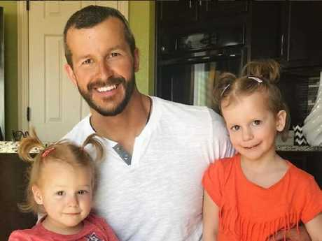 Chris Watts with his daughters, Bella and Celeste