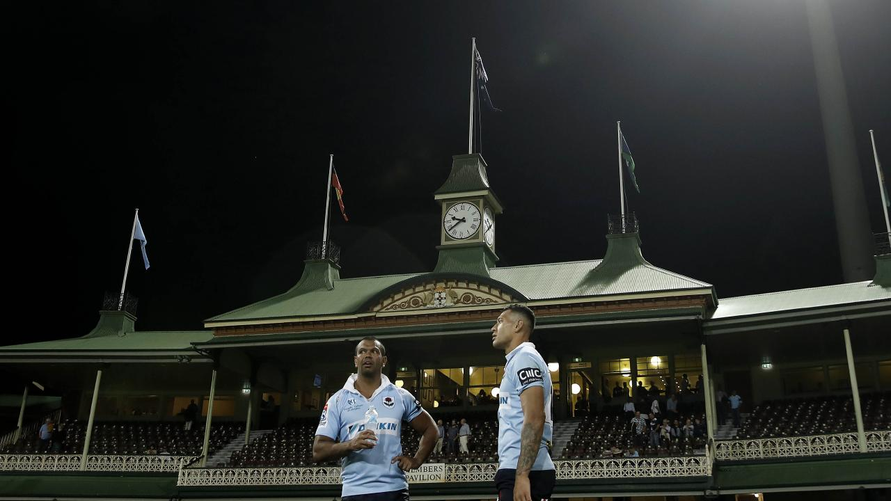 Kurtley Beale and Israel Folau in front of the iconic SCG Members stand. Picture: Getty