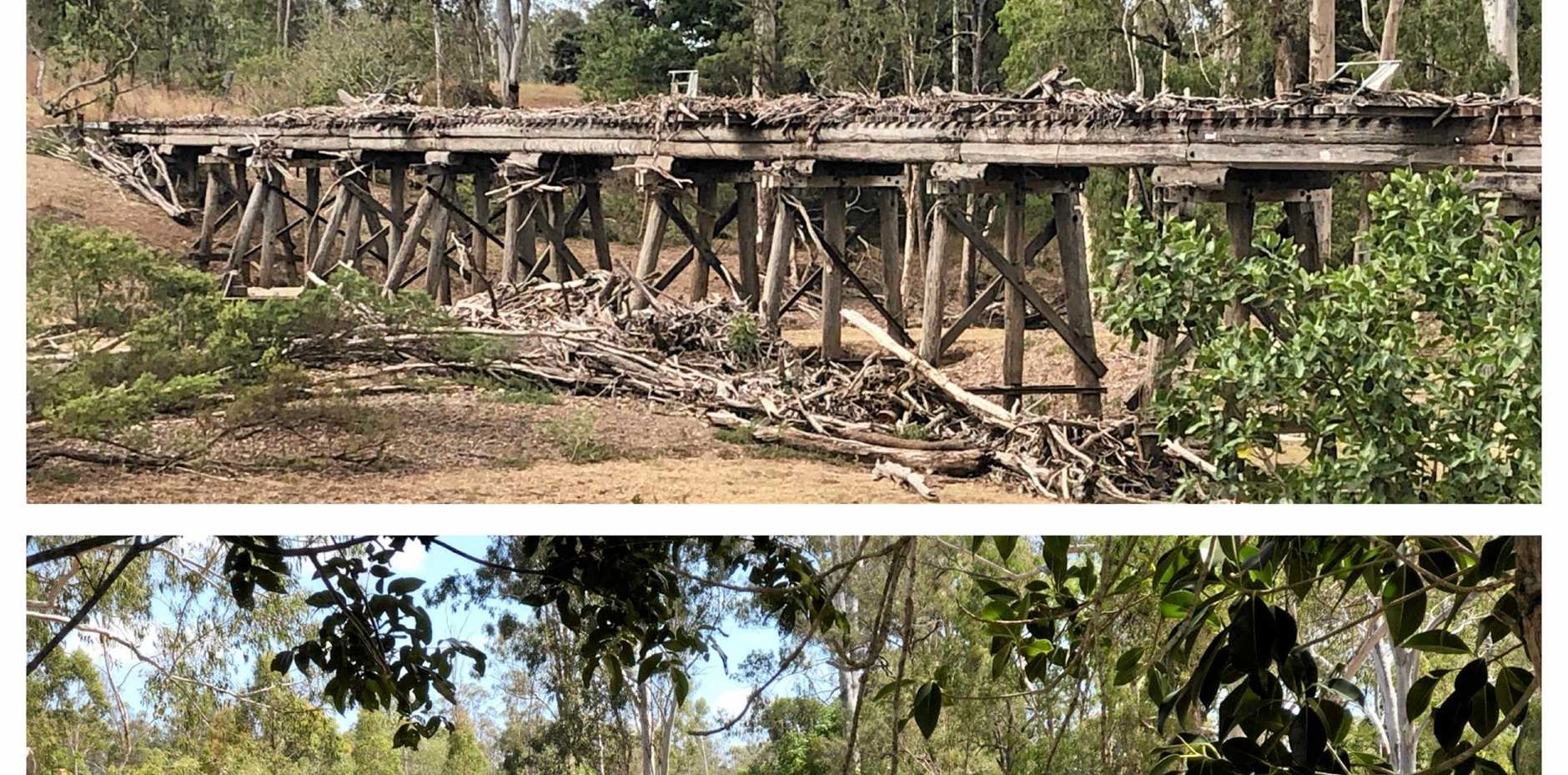 BEFORE AND AFTER: A timber bridge crossing Degalgil Creek near Nagoorin was cleaned up recently.