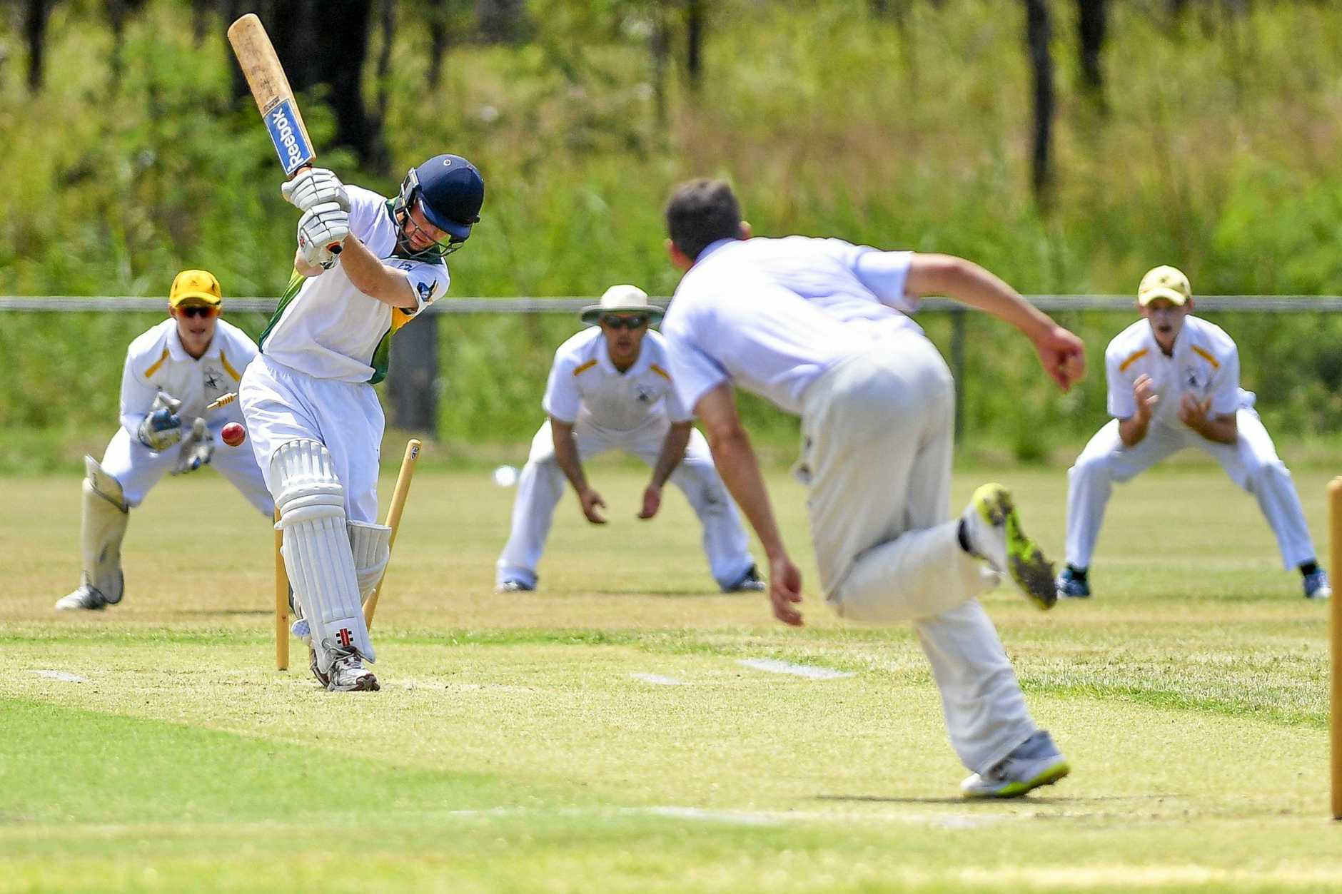 HOWZAT: BITS opening batsman Jacob Harvey is bowled by The Glen's Jason Seng in their first grand final match at Sun Valley Oval.