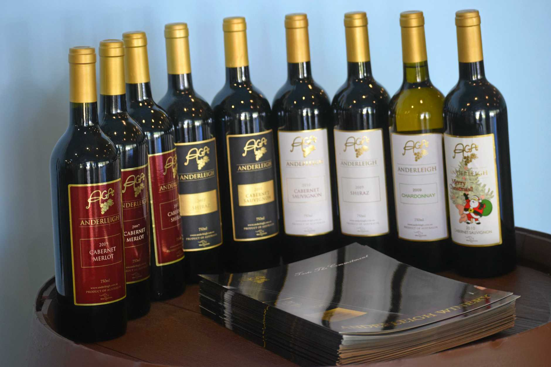 YOUR CHOICE: Customers can purchase any of these wines from Anderleigh Winery.