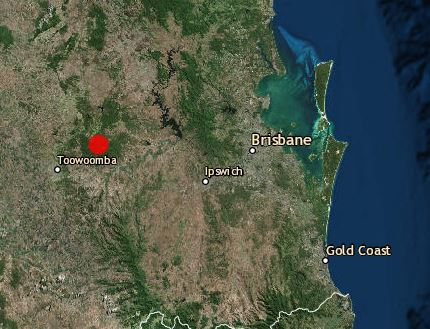 Geoscience Australia recorded a 3.1 magnitude earthquake near Toowoomba.