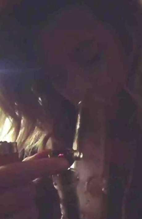 Paris Jackson films herself smoking a bong.