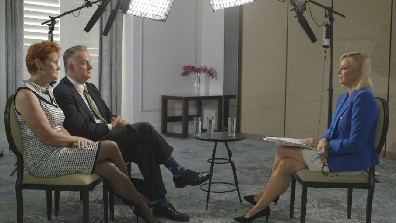 Hanson told 60 Minutes reporter Liz Hayes her biggest fear was if Latham was to desert her. Picture: 60 Minutes/Nine Entertainment Co