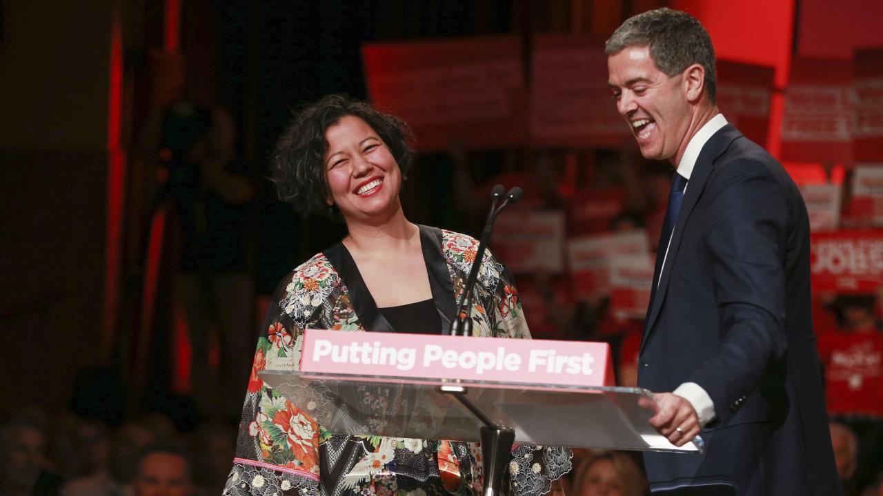 Labor MP John Graham with singer Mahalia Barnes. Picture: Justin Lloyd