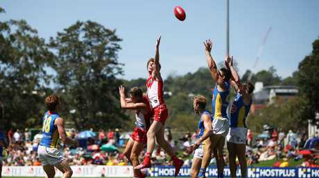 Nick Blakey of the Swans competes for the ball during the 2019 JLT Community Series AFL match between the Sydney Swans and the Gold Coast Suns at Oakes Oval on March 10, 2019 in Lismore, Australia. (Photo by Matt King/Getty Images)