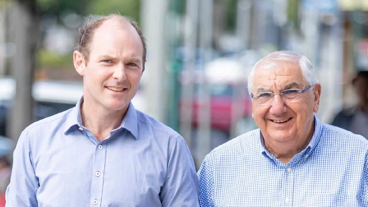 Lismore Nationals candidate Austin Curtin with retiring Nationals MP Thomas George. Picture: Luke Marsden