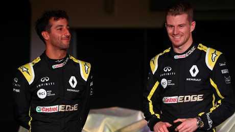 Ricciardo with new teammate Nico Hulkenberg. Pic: Getty Images