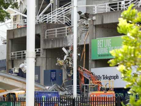 Demolition work begins at Allianz Stadium in Moore Park, Sydney.