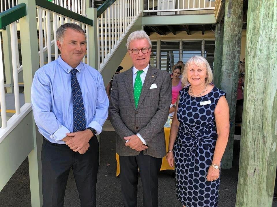 Tweed Heads principal Peter Nicholl, Queensland Governor Paul de Jersey and Coolangatta principal Sharyn Mahony.