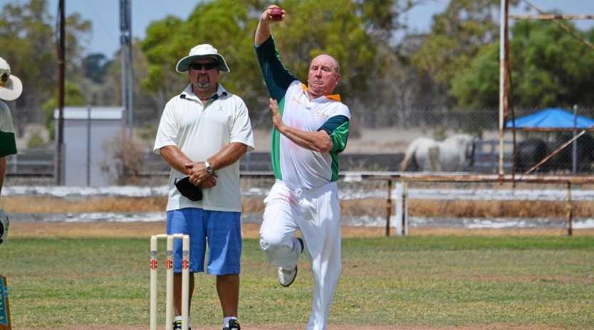 ELIMINATION FINAL: Injune's Bidgood lines up a fast ball against Leprechauns.