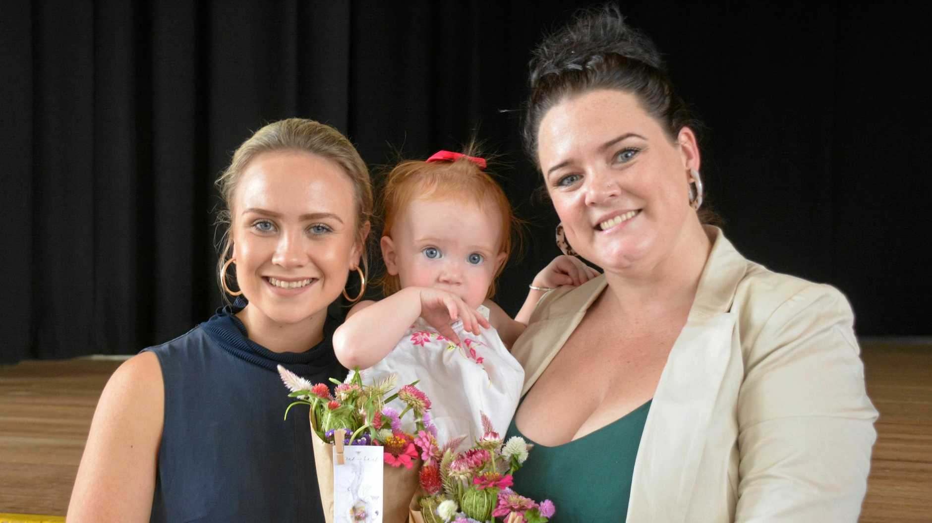 Annie Flamsteed and Chloe Watson were guest speakers at the International Women's Day Luncheon in Kingaroy. Chloe's daughter Rosie also made an on-stage appearance.