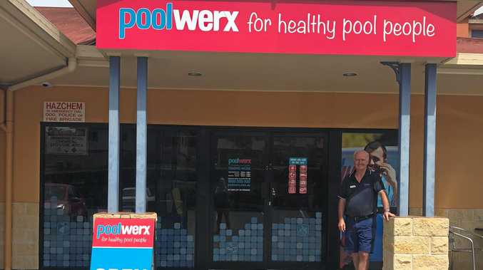 NEW SHOP: Pat Henson in front of the new Poolwerx Gladstone store at Clinton.  Pat and Rhonda Henson decided to consolidate their two previous Poolwerx stores in Gladstone and Tannum Sands and open a new store .