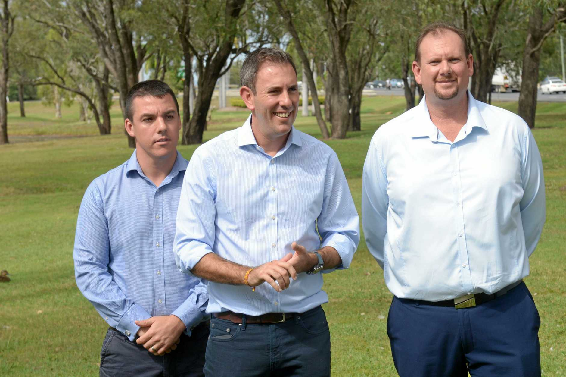Zac Beers, Labor Candidate for Flynn; Jim Chalmers, Shadow Minister for  Finance; and Russell Robertson, Federal Labour Candidate for Campricornia pledge funds to upgrade the Rockhampton-Gladstone highway