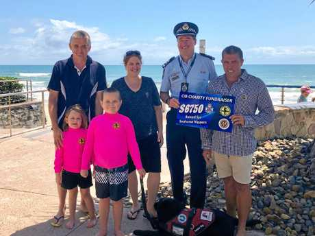 The Bloor family with Sunshine Coast Superintendent Darryl Johnson at a charity fundraiser for Seahorse Nippers, Alexandra Headland.