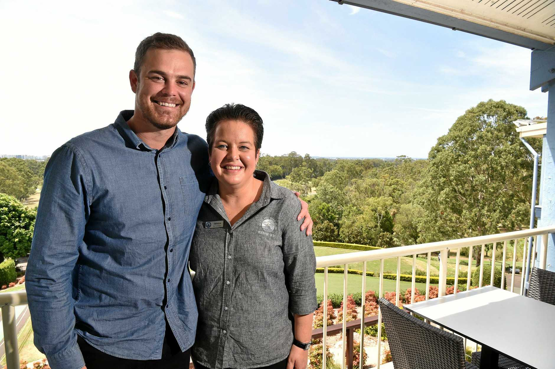 Tim Reed welcomes Headland Golf Club bar manager Jenene Nicholson back to work after a terrible run of health.