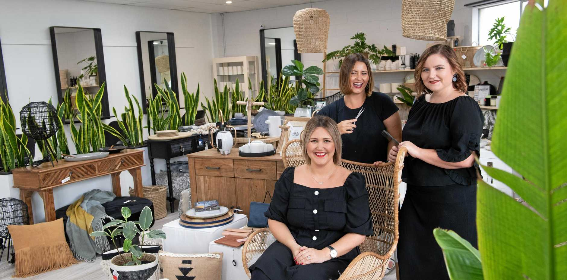 BEST OF BOTH WORLDS: Owner Bel Martin (front) with Dallas Rogers and Chrissy Green at Martin & Co Emporium.