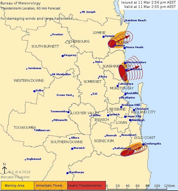 A thunderstorm is set to hit Coolangatta/Tweed Heads.
