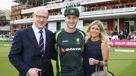 Peter Nevill is congratulated by father Jeff Nevill and fiancee Sam Nelson after being handed his debut at Lord's in 2015. Picture: Getty
