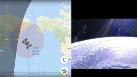 The image was snapped on an ISS live feed app.