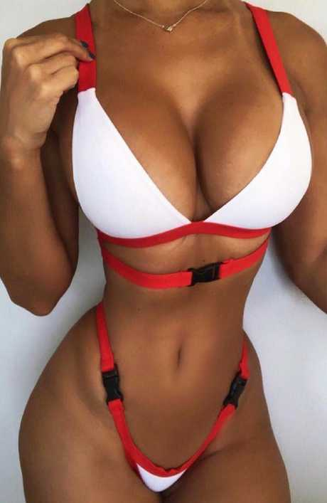 The latest tiny bikini — featuring buckles as straps instead of actual material — is taking the viral swimmers trend too far.