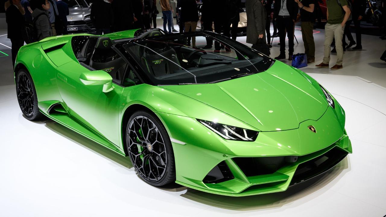 Lamborghini Huracan Evo Spyder at the 2019 Geneva motor show.