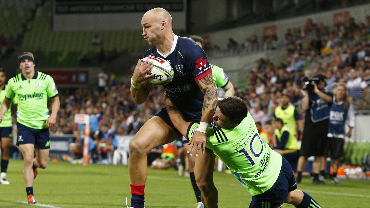 Bill Meakes of the Rebels scores a try during the Round 3 Super Rugby match between the Melbourne Rebels and the Highlanders. Picture: AAP