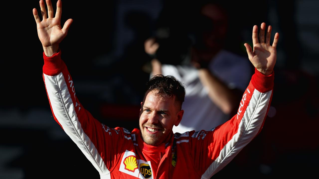 Sebastian Vettel celebrates winning the 2018 Australian Formula One Grand Prix.