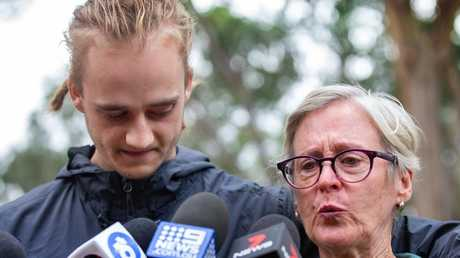 Nathan Salvado, 21 and his aunt, Maria Bohan, speak to media about the couple's disappearance. Picture: Sarah Matray