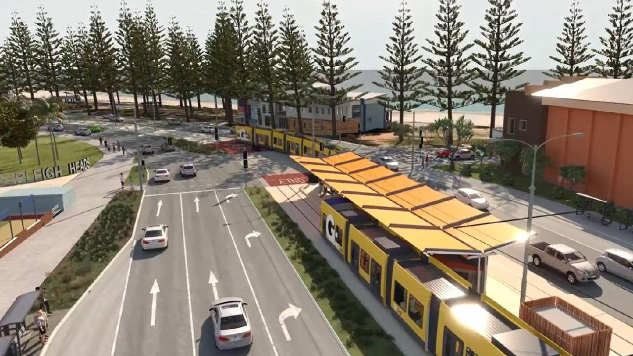 Gold Coast Light Rail Stage 3A artist impression showing the Burleigh Heads station.
