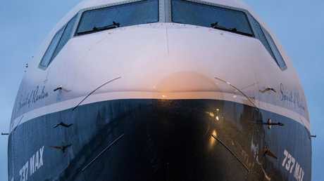 The nose of the Boeing 737 MAX aeroplane. Picture: David Ryder/Bloomberg.
